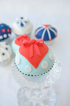 Red Heart  Bow on Blue Dotted Cupcake