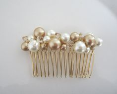 Items similar to Ivory Bridal Comb with Swarovski Pearls and Crystals---Golden Sunshine on Etsy Hair Accessories For Women, Wedding Hair Accessories, Hair Grips, Handmade Wire Jewelry, Bridal Comb, Swarovski Pearls, Hair Comb, Hair Jewelry, Hair Pieces