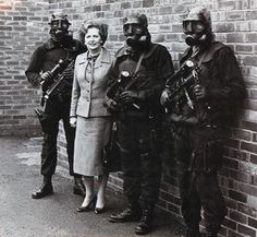 Margaret Thatcher and three SAS personnel after the six-day Iranian Embassy siege in London, May 1980.
