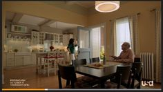 Burke House from white collar - wide shot of kitchen and dining room