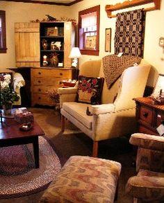 OK - I'll take this as my living room . Prim Decor, Country Decor, Country Homes, Primitive Decor, Farmhouse Decor, Primitive Furniture, Country Living, Country Style, Primitive Living Room