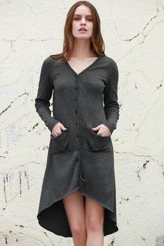 Gray V Neck Long Sleeve Cardigan GRAY: Sweaters | ZAFUL