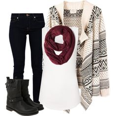 Skinny Jeans, Tribal Print Sweater, White Tank, Scarf and Boots.