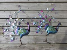 Peacock Metal Wall Plaques Set of 2 Yard Home Garden Signs Bird Feathers New