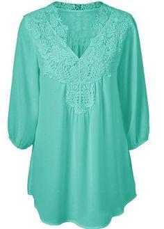 Plus Size Mint Green 3/4 Sleeve Lace Panel Tunic Blouse