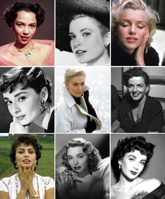 The 1950s were the decade of the highly arched and thick brow (Audrey Hepburn, center left). Some brows were a bit more softly arched (Grace Kelly, top center), but almost all were well groomed and started out very thick at the inner corner and tapered to a medium width point at the outer edge.