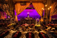 Planned, Designed & Produced by www.swankproducti... Alexander McQueen Wedding at Angel Orensanz. Table Setting. Details: #swank #alexandermcqueen #gothic #wedding #jewishwedding #reception #table #centerpieces #black #white #gold #purple #burgundy #reception #justmarried #newlyweds #customdesign  #inspiration #beautiful #mood #romantic #creative #tablesetting