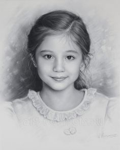 Child portrait, little girl by Dry Brush by Drawing-Portraits on DeviantArt