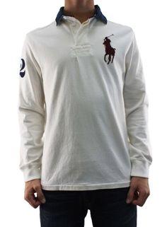 62ab71c3 Amazon.com: Polo Ralph Lauren Men's Custom Fit White Long Sleeve Big Pony  Polo