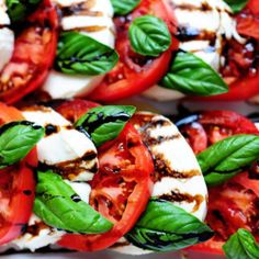 The Best Caprese Salad:  2 cups Balsamic Vinegar 12 ounces Mozzarella Cheese, Sliced Thick 3 Juicy Tomatos 2 1/2 cups Olive Oil 1 dash salt 1 dash pepper 10 Fresh Basil leaves