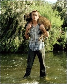 Ryan Gosling and his dog George. This just made me like him so much more. George = great dog name.