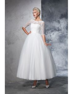 A-Line Scoop Neck Tea-length Wedding Dresses with Lace Sleeves