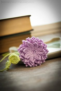 Dahlia crochet bookmark