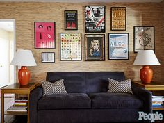 Take a Peek Inside Judy Greer's 'Eclectic, Vintage Chic' Home  |   blue sofa