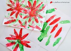 Beautiful Sponge Painted Poinsettias: A Simple Craft for Kids - maybe for home made Christmas cards? or canvas art?