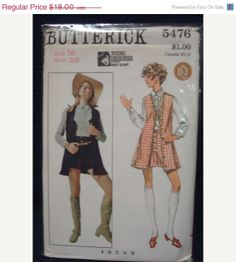 SALE 1960s 1969 Mary Quant Hot Pants Pattern  Bust 38 by kinseysue, $16.20