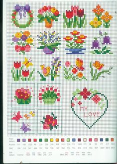 Floral Cross Stitch Pattern mini