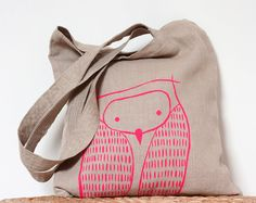Neon Pink Owl Tote Bag - Natural Linen Owl Tote Bag - Neon Pink Owl - Eco friendly market - Bright Summer colors- Woodland inspired