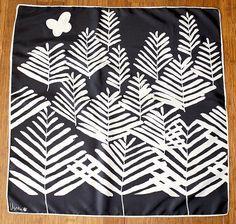 "Vintage VERA Scarf ~ Ladybug Black / White Trees / Butterfly 26"" x 26"" ~ ESTATE #Vera #Scarf #Casual"