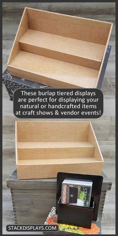 Do you sell handmade, handcrafted or natural products? Items such as soy candles, soap or other bath & body products? These displays are perfect for displaying your DIY creations or other craft items you might sell at vendor events or craft shows!