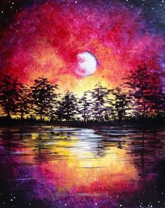 Midsummer Moonrise at Tavern in the Square - Porter Square - Paint Nite Events near Cambridge, MA>