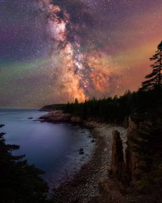 As the eclipse passed the skies cleared up revealing a spectacular display of the Milky Way at Monument cove Acadia National Park.  #mountains #nature #lake #travel #hiking #photography #photooftheday #usa #nationalpark #travels #traveler #travelphotography #mountainslovers #gopro #milkyway