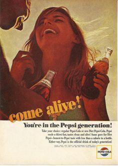 Pepsi Cola Original 1965 Vintage Print Ad Color by VintageAdarama