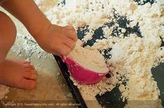 Indoor Toddler Activities - Cloud Dough...4 cups of flour & 1/2 cup + 2 Tbsp of Baby Oil. @PhanieLyn I think Joe would love this too!  Maybe it's an outdoor project though?  It seems messy!