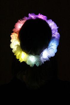 LED Flower Crown White with rainbow leds light by HippyHeadBandz