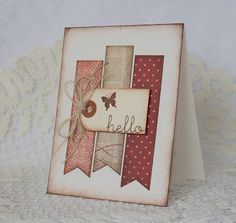 I have a CAS card to share today. Some MME papers, a small manila tag, and twine. The sentiment and butterfly silhouette are PTI. Card Making Inspiration, Making Ideas, Tarjetas Diy, Butterfly Cards, Card Sketches, Cute Cards, Easy Cards, Card Tags, Paper Cards