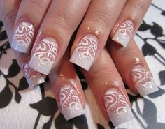 THE BEST NAILS FOR THIS SEASON. Pink with silver French tips & rhinestone bling accent nails.