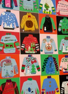 Kunstzimmer von Frau Pearce: Kunst der Klasse Art room of Ms. Pearce: Art of the class Christmas Art Projects, Winter Art Projects, Christmas Crafts, Christmas Trees, Classe D'art, 4th Grade Art, Fourth Grade, Grade 3, Scratch Art