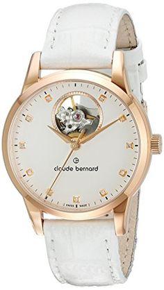Claude Bernard 85018 37R APR Automatik-Uhr Leder weiß weiß - http://on-line-kaufen.de/claude-bernard/claude-bernard-85018-37r-apr-automatik-uhr-leder
