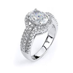 Triple Shank Oval Cut CZ Engagement Ring with Halo Cubic Zirconia Silver Rhodium