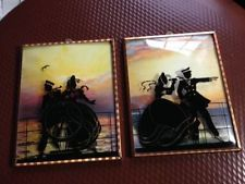 Pair of Vintage Nautical Bubble Glass Reverse Painted Silhouette Pictures