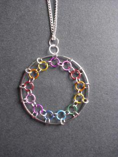Rainbow Spirograph Necklace   by Beachcombing Bumpkin