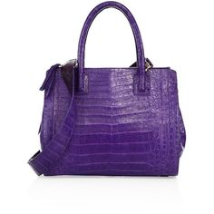 Nancy Gonzalez Small Double-Zip Crocadile Tote ($3,885) ❤ liked on Polyvore featuring bags, handbags, tote bags, apparel & accessories, double zip tote, tote bag purse, purple purse, purple tote and handbags totes
