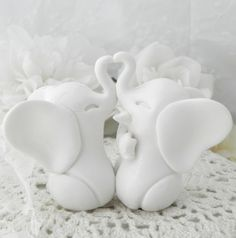 Wedding Cake Topper White Elephants Bride and Groom by LavaGifts