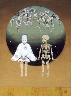 Smiling in the Face of Perversity - rie yamashina Japan Illustration, Art Japonais, Arte Horror, Creepy Art, Japan Art, Fantastic Art, Art Plastique, Skull Art, Dark Art