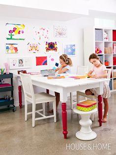 Basement Playroom Design | #DIY Colour-Block Painted Furniture | Photographer: Virginia Macdonald | Stylist: Sally Armstrong.