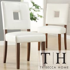 TRIBECCA HOME Calvados Faux Leather White Side Chairs (Set of 2) | Overstock.com Shopping - Great Deals on Tribecca Home Dining Chairs - $176 for 2