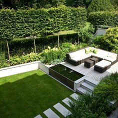 I like this type of idea for the backyard and have the city easement filled with the greenery and the platform just inside the easement.