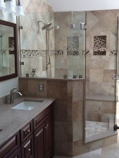 New shower in a simple bathroom remodel.