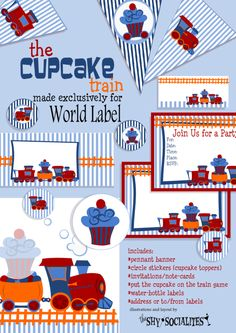 The Cupcake Train Party Set Labels & Printables | Worldlabel Blog