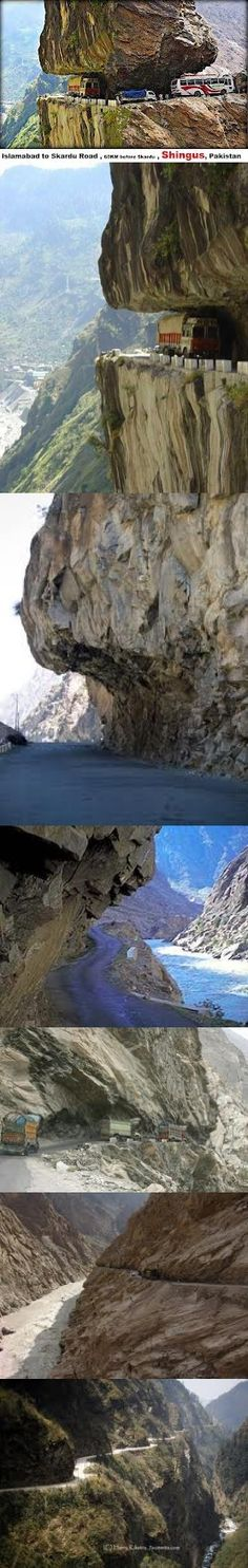 "The first image is the original and is the ""Islamabad-Skardu Road. The highway is indeed a wonder and beautiful highway. Places To Travel, Places To See, Places Around The World, Around The Worlds, Karakoram Highway, Cool Pictures, Cool Photos, Dangerous Roads, Pakistan Travel"