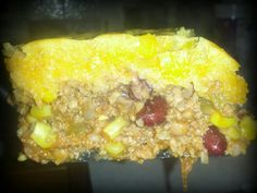 This is AMAZING!! cowboy casserole. I used.. 1 1/2 pound cooked beef, cooked a little diced white onion, jar of salsa, 1 canned corn, 1 canned red kidney beans, 1 canned black eyed peas, (originally asked for black pinto or white beans but I didn't have any) mix all together in skillet , add salt & pepper, then put in a 9x13 add cheese on top, then mix together corn bread as on box, I added 2 tbs of honey & 1 tsp of maple flavor (must do, tasted AMAZING) then added 1 can corn, mixed and…