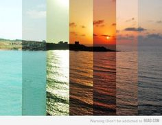 time lapse color palette - cool idea to carry this throughout the home: bright and vibrant when you enter, calm and muted sunset colors going deeper into the house