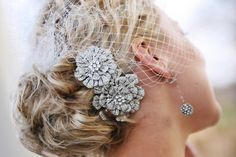 Silver and White Hairpiece