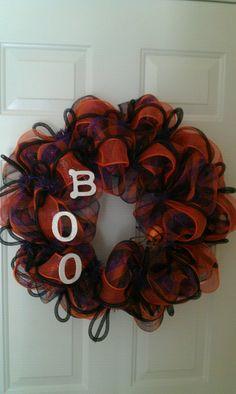 """Boo"" Halloween Deco Mesh Wreath"