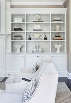 Grey back bookshelf